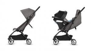 Cómodo viaje con un chasis: utiliza el blando asiento integrado (a partir de 6 meses) y un portabebés CYBEX y gb (desde el nacimiento).
