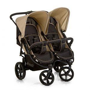 Hauck Roadster Duo SLX - silla gemelar para gemelos y hermanos de 0 meses (combinable con capazo blando) a 30 kg (2x 15kg) ancho 76cm, plegable ultracompactam, Caviar Almond (negro beige)