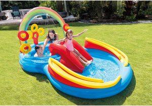 Centro juegos piscina hinchable infantil arcoiris