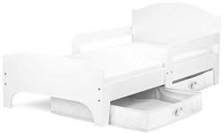 Cama para niños, con colchón 140/70 cm y cajones. Blanco