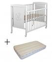 Cuna para bebé, modelo Oso Dormilón Mundi Bebé + Colchón Viscoelástica + Protector de colchón impermeable