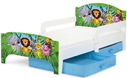 Camas para niños con cajones y con diseño de animales de la selva